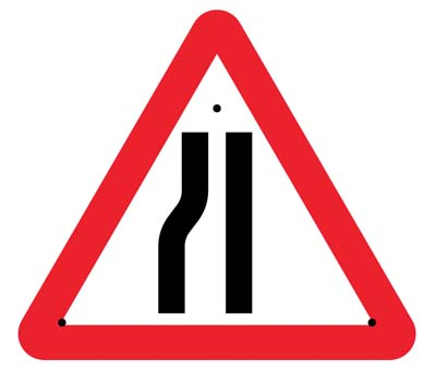 Road narrowing left, 750mm triangle Re-Flex Sign (3mm reflective polypropylene)
