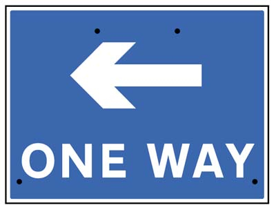 One way arrow left, 600x450mm Re-Flex Sign (3mm reflective polypropylene)