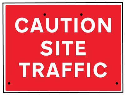 Caution site traffic, 600x450mm Re-Flex Sign (3mm reflective polypropylene)
