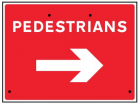 Pedestrians arrow right, 600x450mm Re-Flex Sign (3mm reflective polypropylene)