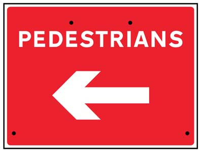 Pedestrians arrow left, 600x450mm Re-Flex Sign (3mm reflective polypropylene)