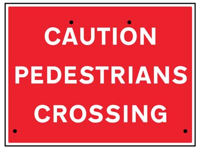 Caution pedestrians crossing, 600x450mm Re-Flex Sign (3mm reflective polypropylene)