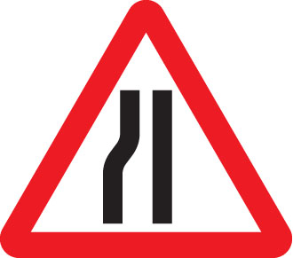 Road narrows left fold up 750mm triangle sign with text variant
