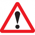 Warning ! 750mm triangle sign with text variant fold up sign