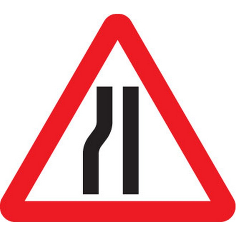 Road narrows left fold up 750mm triangle sign
