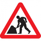 Road works fold up 750mm triangle sign