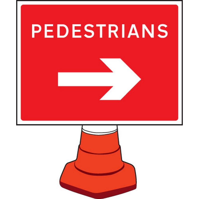 Pedestrians arrow right cone sign 600x450mm