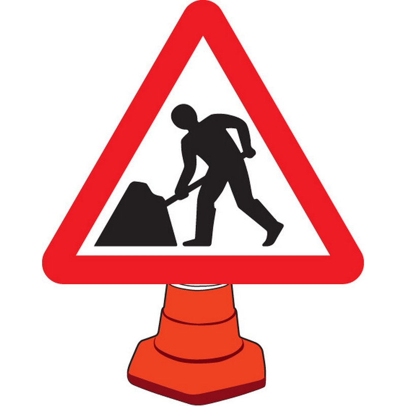 Road works cone sign 750mm