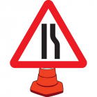 Road narrowing right cone sign 750mm