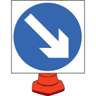 Keep right cone sign 750mm