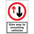 Give Way to Oncoming Traffic reflective fold up sign 900x600mm
