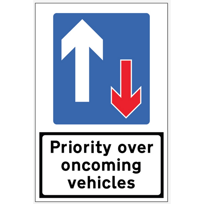 Priority over Oncoming Traffic reflective fold up sign 900x600mm