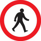 Pedestrians prohibited Class R2 Permanent 600mm Dia (3mm aluminium composite)