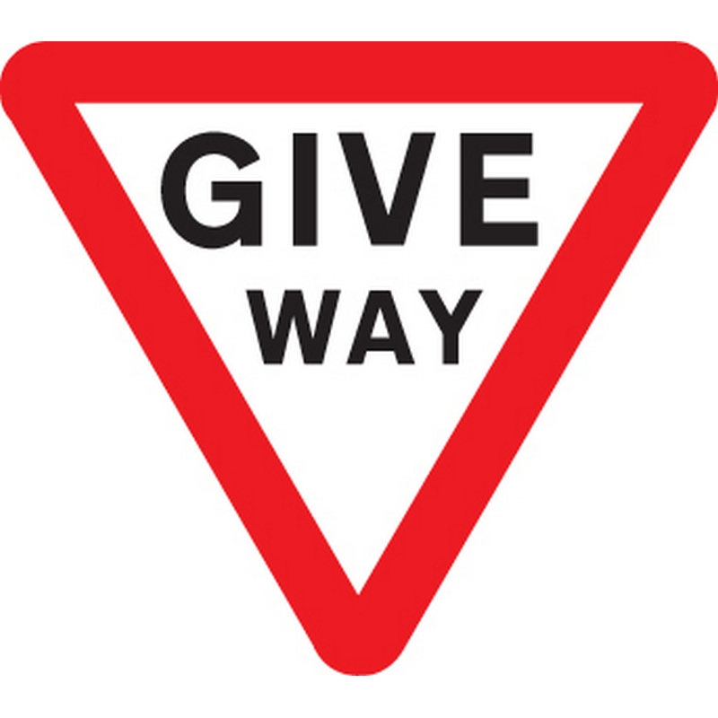 Give way Class R2 Permanent 600mm triangle (3mm aluminium composite)