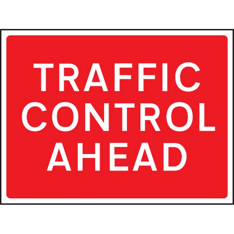 Traffic control ahead 1050x750mm Class RA1 zintec
