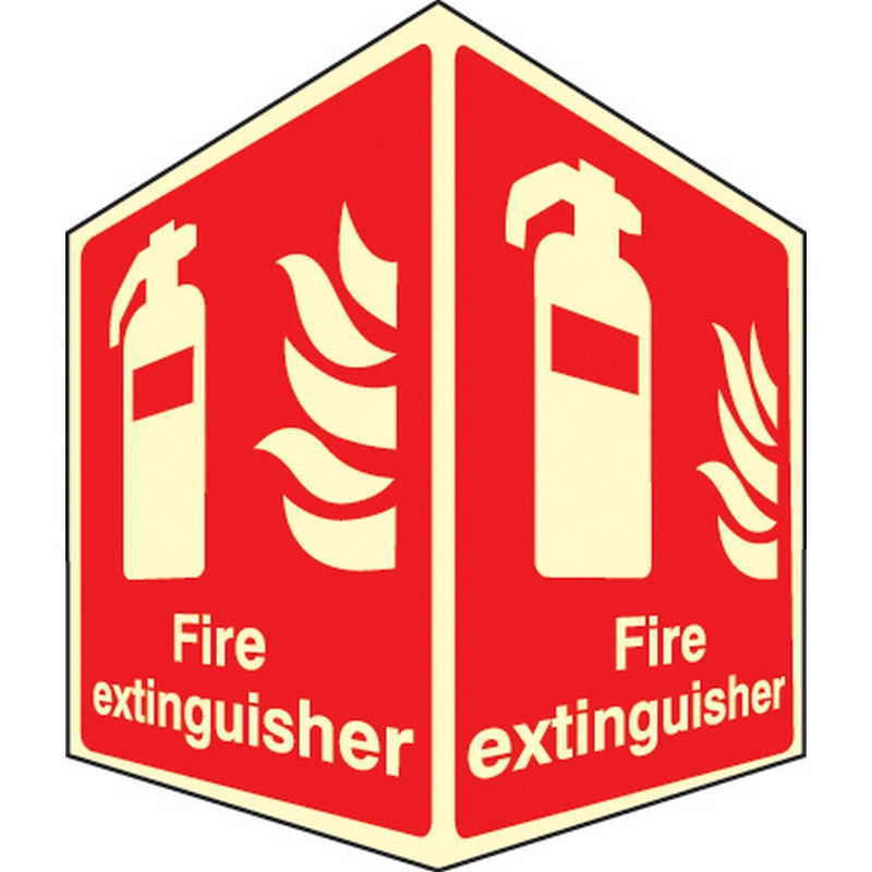 Fire extinguisher - projecting sign photoluminescent