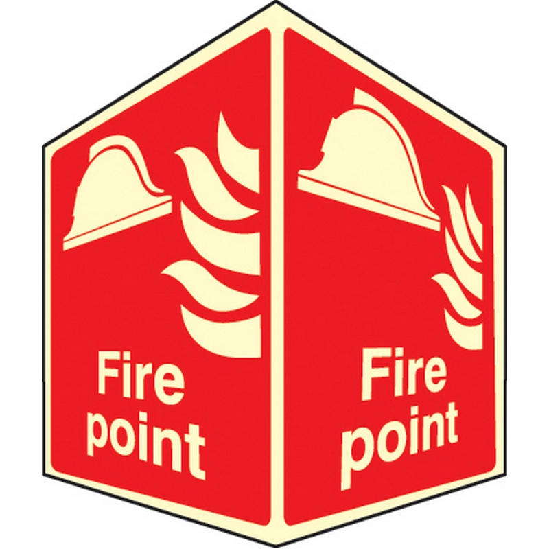 Fire point - projecting sign photoluminescent