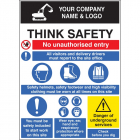 Site safety board 900x1200mm c/w logo