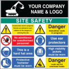 Site safety board 1200x1200mm c/w logo