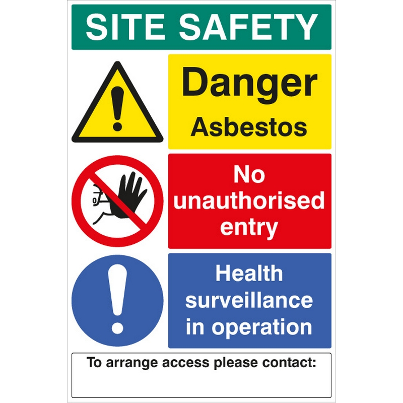 Site safety board asbestos 600x900mm c/w contact details 1mm PVC
