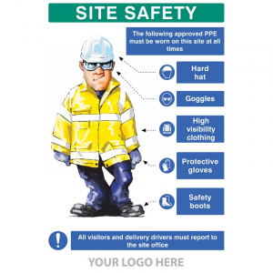 PPE requirement sign (Hat,Goggles,Hivis,Gloves,Boots) - PPE