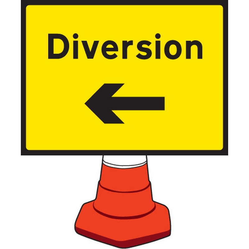 Diversion left cone sign 600x450mm