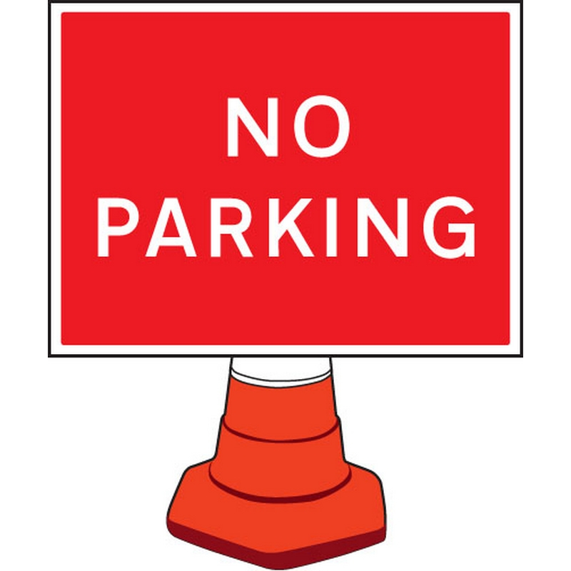 No parking cone sign 600x450mm