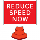 Reduce speed now cone sign 600x450mm