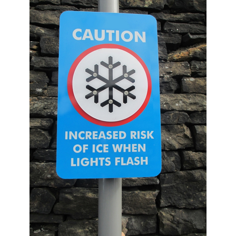 Ice Detector LED Sign (300x500mm composite) post mounted with Channelling/clips