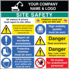 Site safety board 1200x1200mm 3mm pvc c/w logo