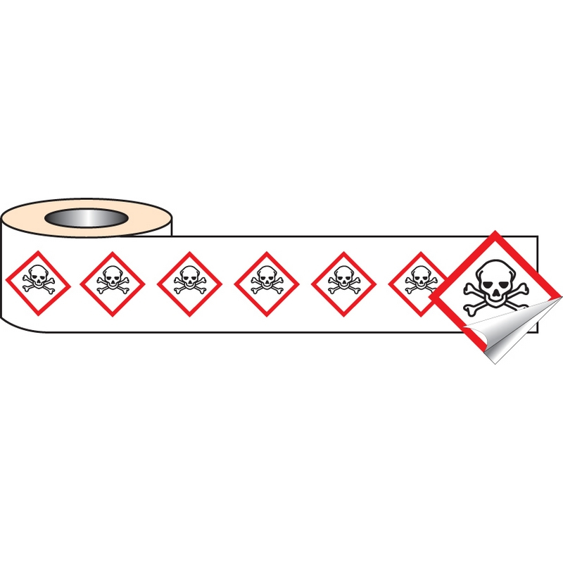 250 S/A labels 50x50mm GHS Label - Toxic