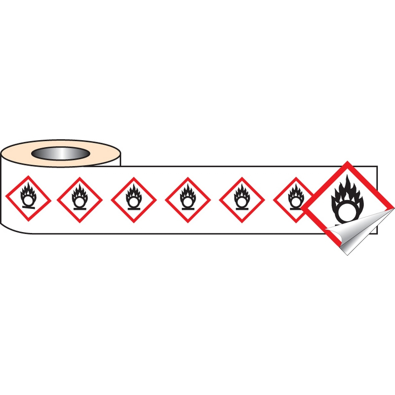 250 S/A labels 100x100mm GHS Label - Oxidiser