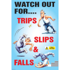 Trips slips and falls poster 510x760mm synthetic paper