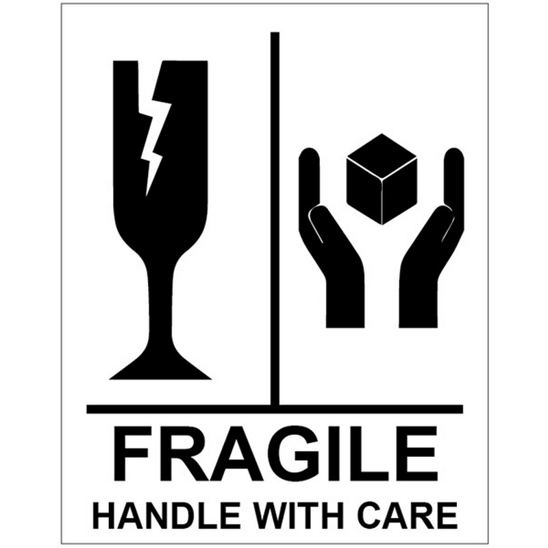 Fragile Handle With Care self adhesive labels 75x100mm - 250 per roll