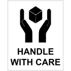 Handle With Care self adhesive labels 75x100mm - 250 per roll