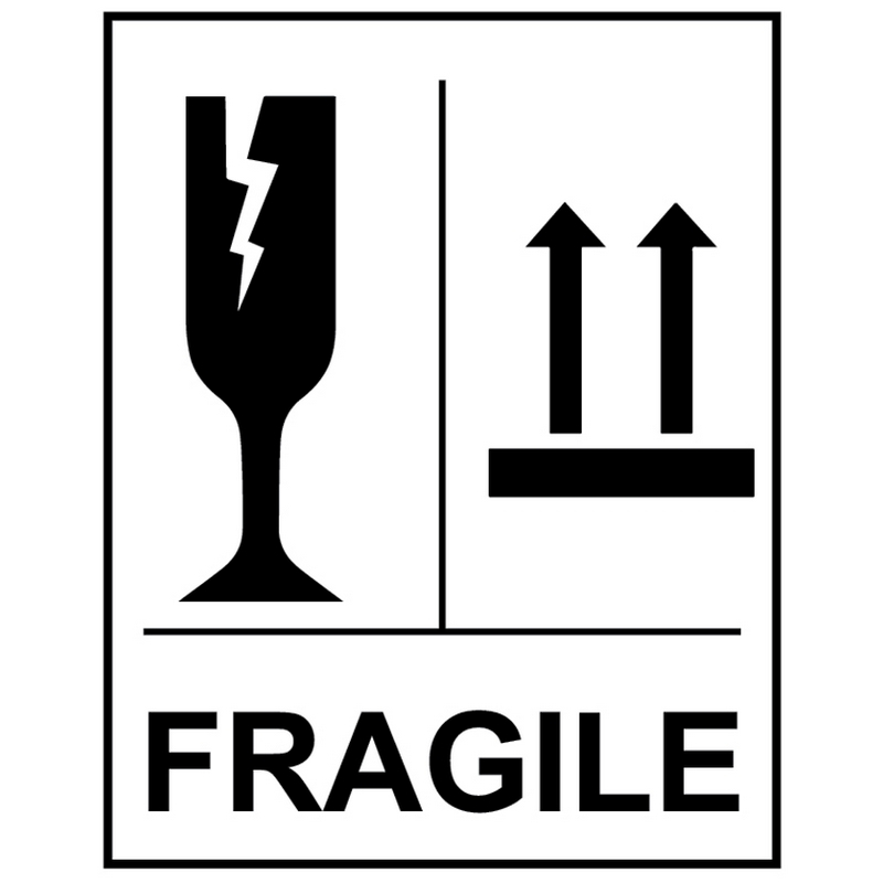 Fragile Glass This way up self adhesive labels 75x100mm - 250 per roll