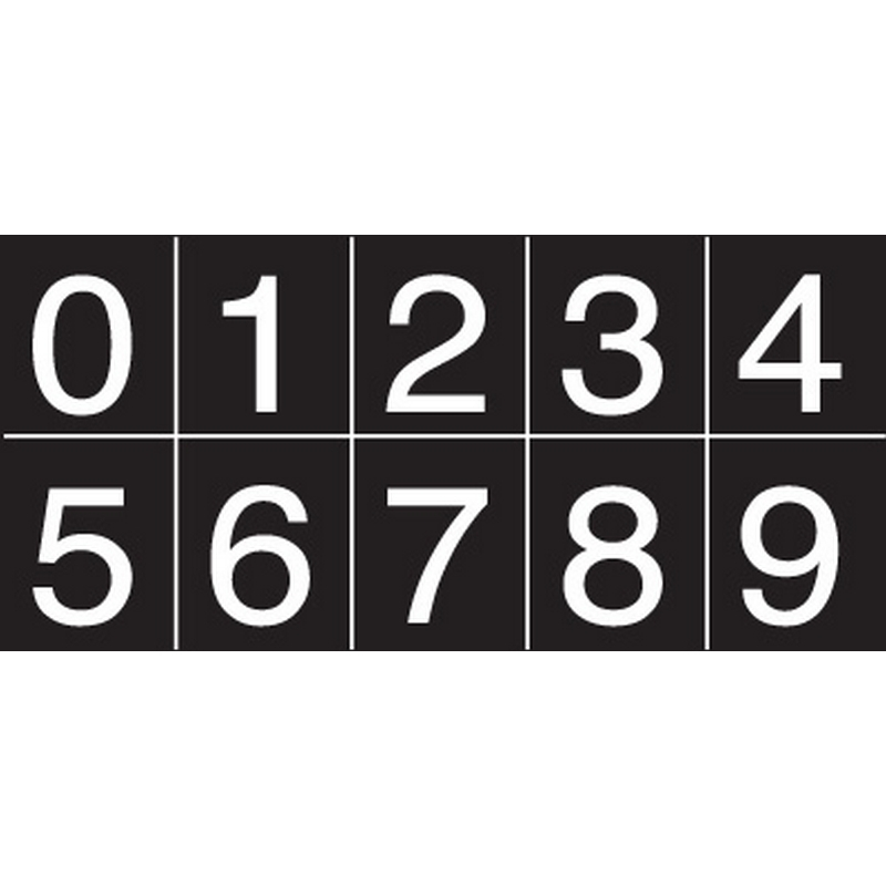 Numbering sheet white on black 25mm cap height