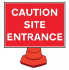 Caution site entrance reflective cone sign 600x450mm (cone not included)