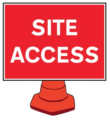 Site access reflective cone sign 600x450mm (cone not included)