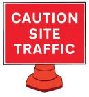 Caution site traffic reflective cone sign 600x450mm (cone not included)