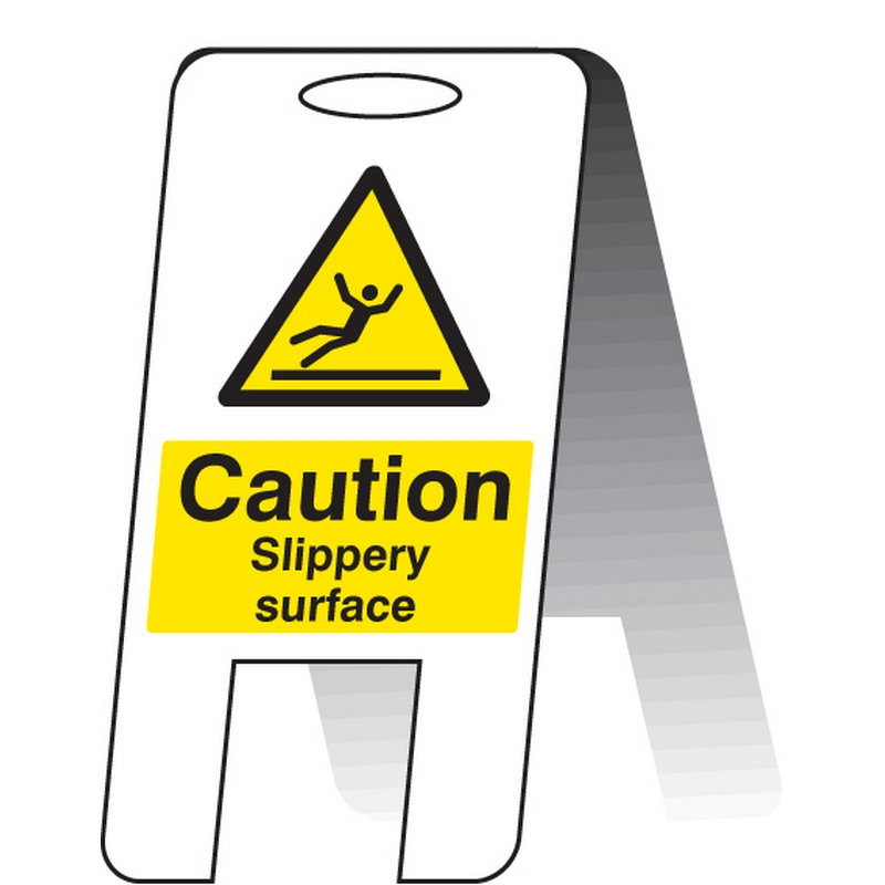 Caution slippery surface (self standing folding sign)