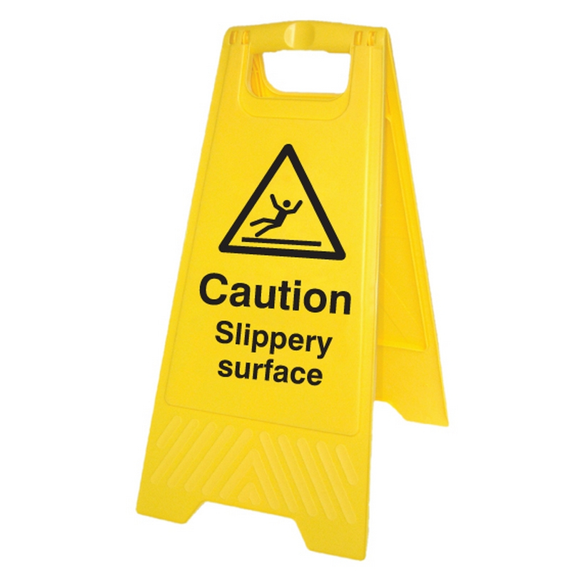 Caution slippery surface (free-standing floor sign)