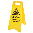 Caution forklift trucks in operation (free-standing floor sign)