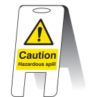 Caution hazardous spill (self standing folding sign)