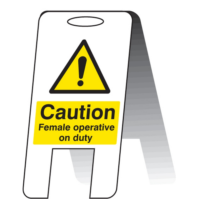 Caution female operative on duty (self standing folding sign)