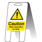 Caution male operative on duty (self standing folding sign)