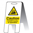 Caution forklift trucks in operating (self standing folding sign)
