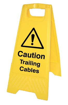 Caution trailing cables (free-standing floor sign)