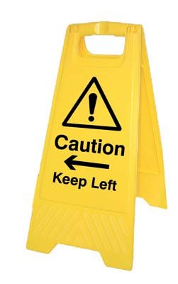 Caution Keep left/right (free-standing floor sign)