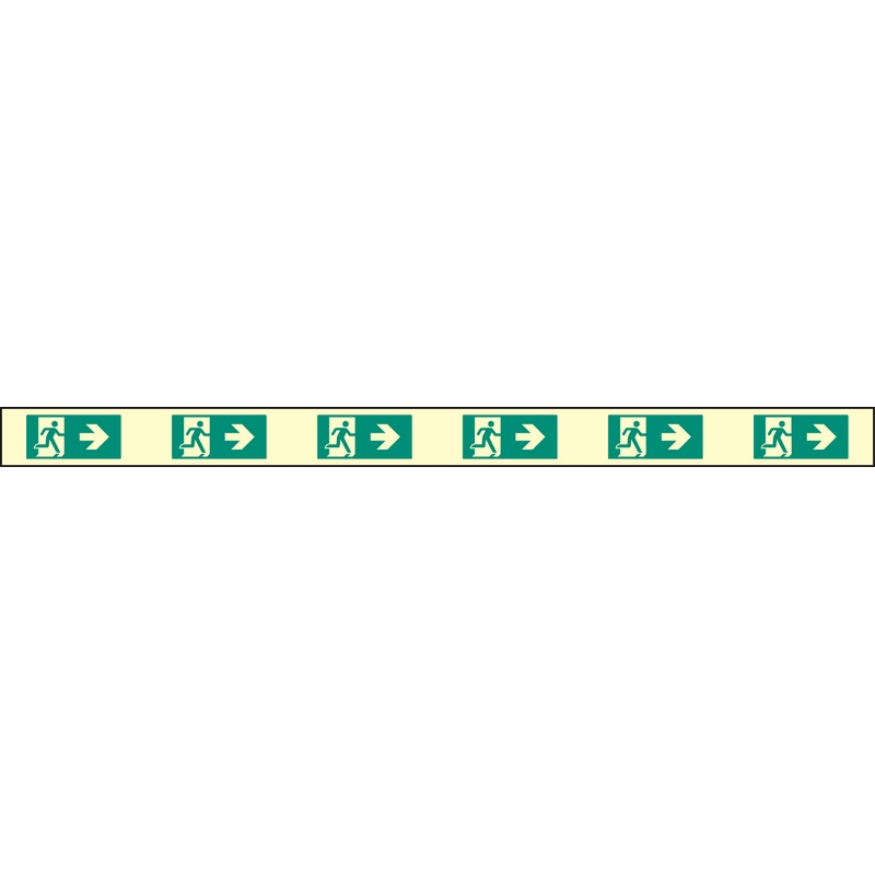 Fire exit right marking strips 1200x800mm photoluminescent